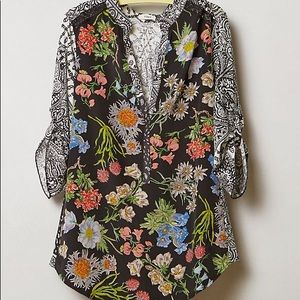 Tiny Lacona Floral Popover Shirt Anthropologie XS